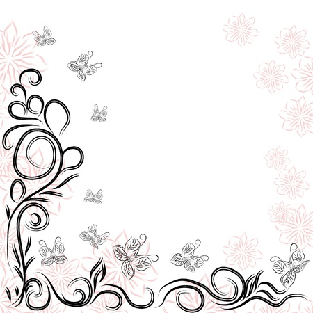 frame with butterflies and curling branches Stock Vector - 16262856
