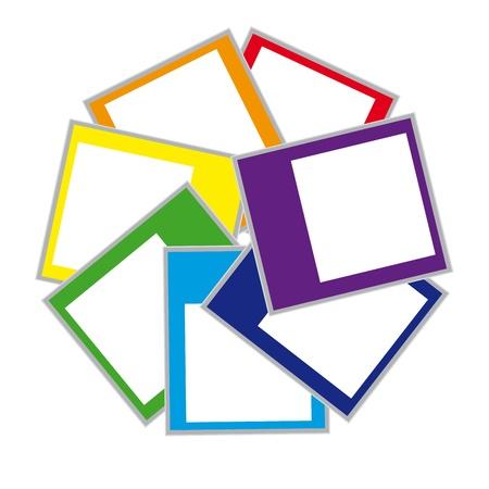 colorful polaroid photo frame on isolated background. Vector illustration