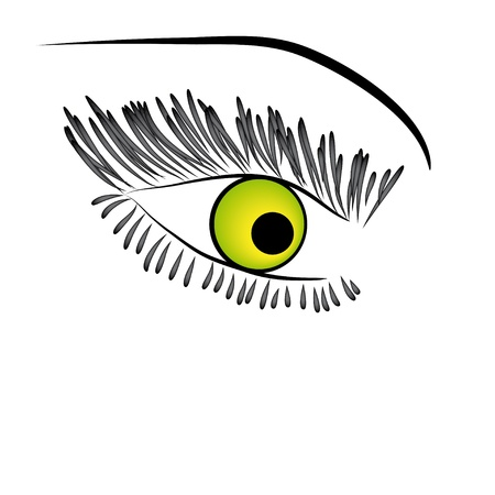 Beautiful green woman eye.  illustration Vector