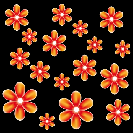 pattern with abstract mesh flowers Vector