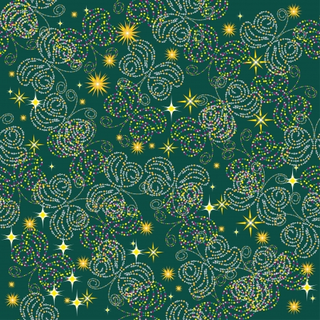 seamless background with stars and butterflies. Abstract  Vector