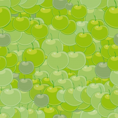 seamless with green apples Vector