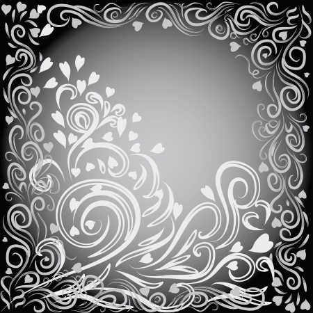 abstract love frame with curling branches and hearts Vector
