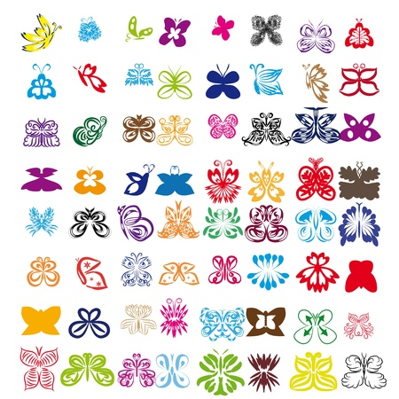set of butterflies on isolated background