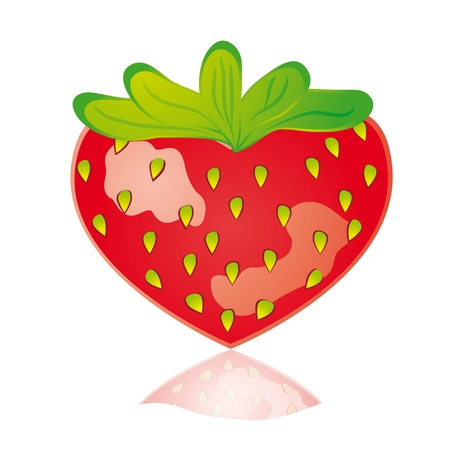 Juicy Strawberry-heart isolated on white Vector