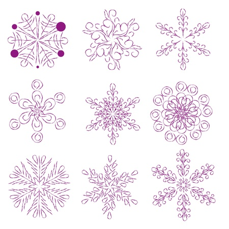 encasement: set with abstract snowflakes Illustration
