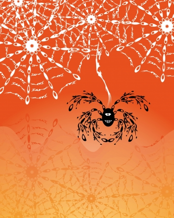 background with spider web and cartoon spider.  Stock Vector - 21076615