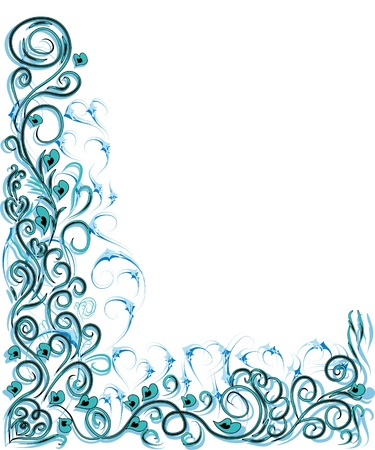 encasement: beautiful gentle frame for your design with hearts and curling branches