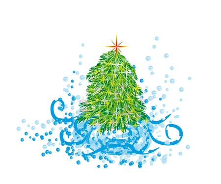 splutter: abstract christmas tree on isolated background