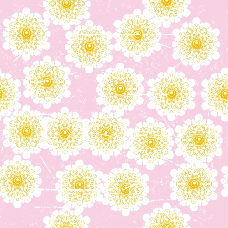 encasement: soft winter seamless with abstract vector snowflakes or flowers on pink background