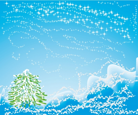 encasement: winter background with different symbols by christmas: snow, snowflakes, tree and stars