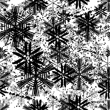 splutter: winter seamless with abstract vector snowflakes Illustration