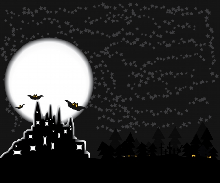 consternation: illustration for Halloween. The symbols of this holiday-dark castle, moon, bats and other
