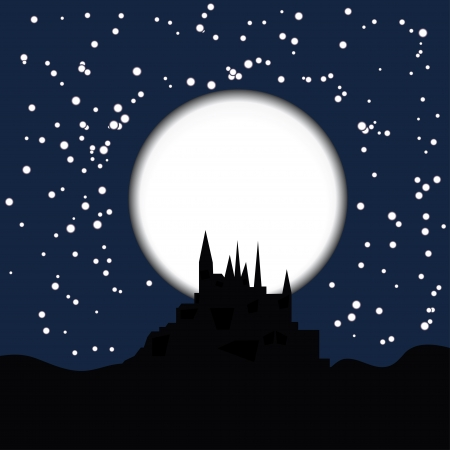 warlock: dark silhouette of the castle on the moon background. Vector symbol by Halloween