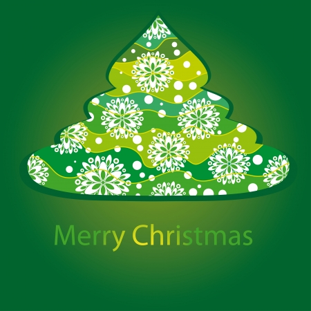encasement: card with christmas tree. Vector illustration