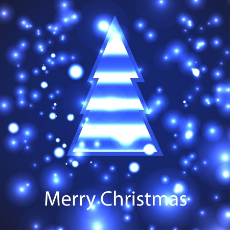 encasement: card with christmas tree on dark-blue background.  Illustration