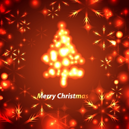 luminescent: card with christmas tree on red background.