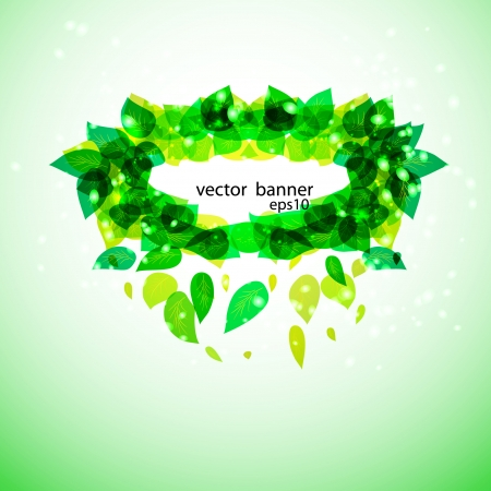 green vector banner with leaves  Vector