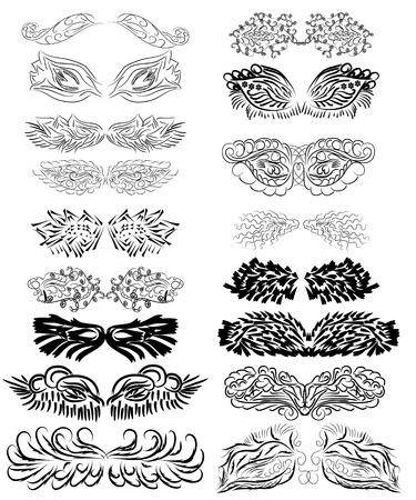 set van abstracte vector vleugels