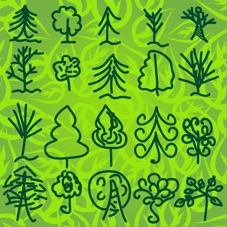 set of sketch trees on green background. Vector illustration Vector