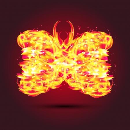 fiery butterfly.   Vector