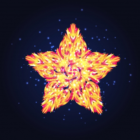 fiery: abstract card with fiery star Illustration
