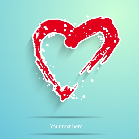 eart: red paper heart with white ornament on blue background,  Symbol by St. Valentines Day Illustration