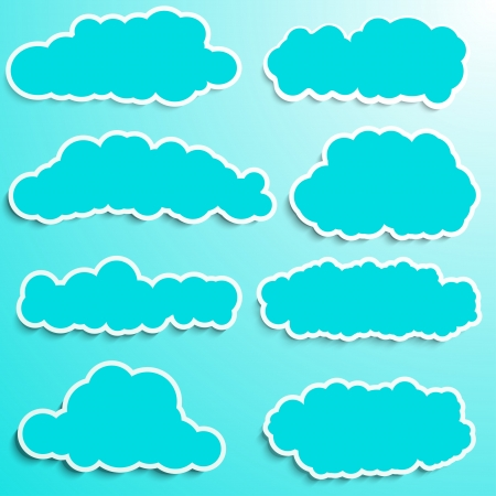 blue clouds: collection of blue clouds with white frames Illustration
