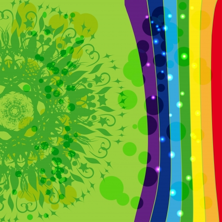 floret: interesting abstract design with circular ornament on the background of rainbow side. Here you can place your text or use as a template for greeting card. Also online at their website or other