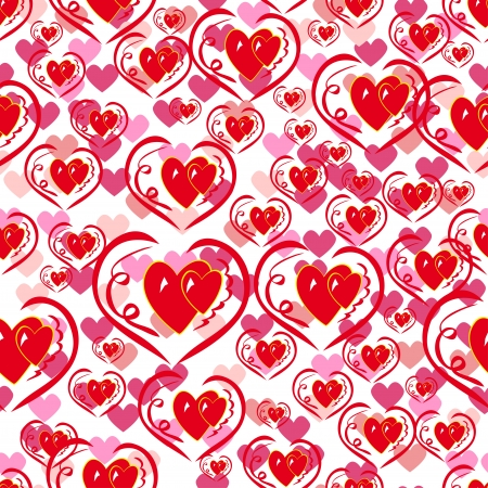 abstract seamless pattern with different hearts