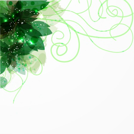 ecology emblem: frame with green flower.  Background for your text. Use as ecology emblem or other design