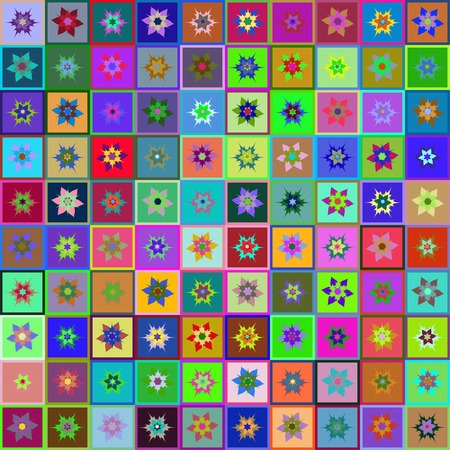 abstract bright pattern with geometry shapes and flowers by patchwork style Vector