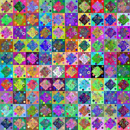 abstract bright seamless pattern with different flowers by patchwork style Vector