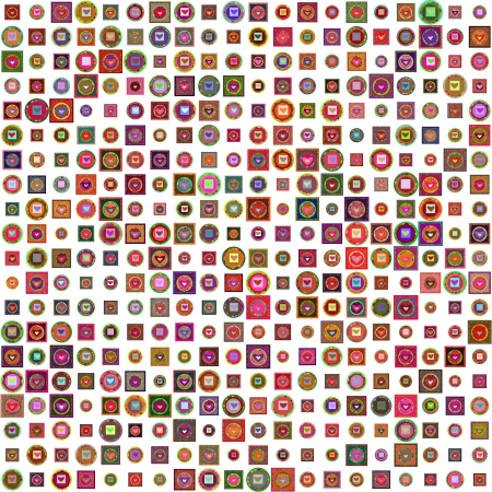 colorful mosaic with different squares and hearts. Patchwork style Vector