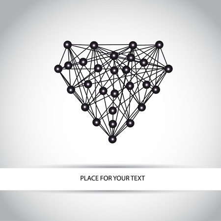 abstract geometry black heart Vector