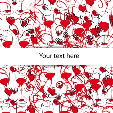 abstract background with hearts and glasses of red wine. Theme Valentine's Day Vector