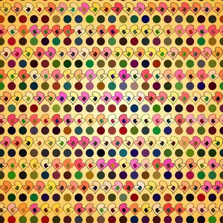 pattern with colors hearts Vektoros illusztráció