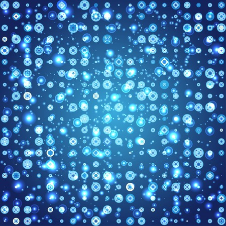 abstract background with glowing circles and different elements in a mosaic style. Blank for your design Vector