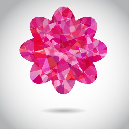 pink flower: pink flower of triangles. Isolate element