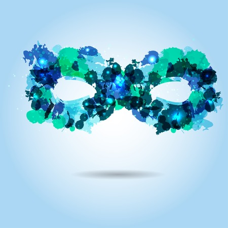 Stylized mask in shadows of blue, consist of colored blots Vector