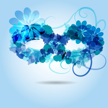 Stylized mask in shadows of blue, consist of colored blotsand abstract flower Vector