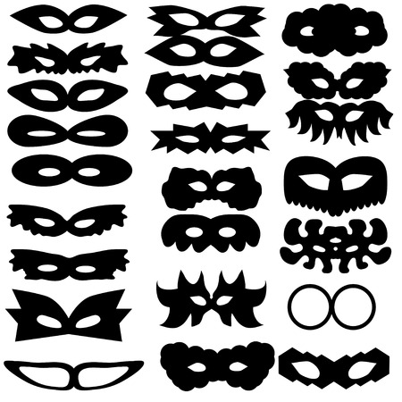 set of silhouettes of carnival masks Vector