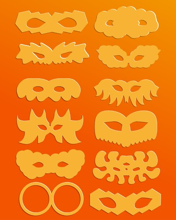 set of orange  silhouettes of paper carnival masks Vector