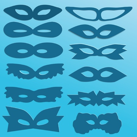 set of blue silhouettes of paper carnival masks Vector