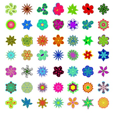 vector collections with colors flowers.  Illustration