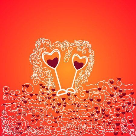 abstract background with hearts and glasses of red wine. Theme Valentines Day Vector