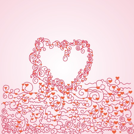 frame with curl  lace heart Vector