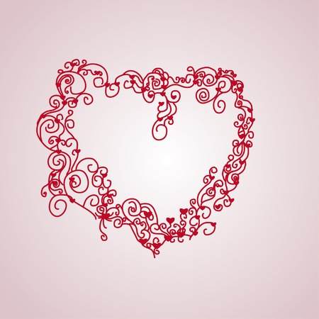 isolate red lace heart Vector