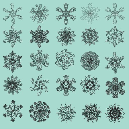 multifunction: set of snowflakes or flowers or design elements. multifunction universal collection of vector units Illustration