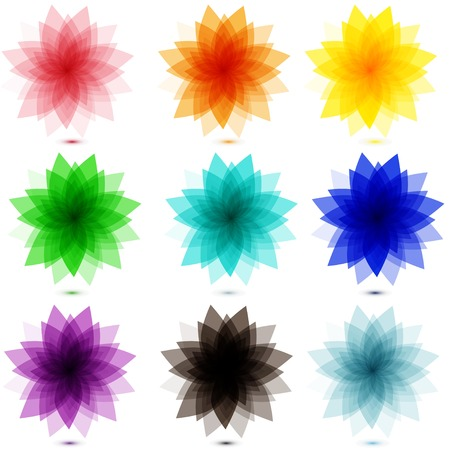multifunction: set of gentle colors flowers. multifunction universal collection of vector units Illustration